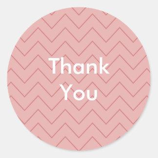 Coral Pink Chevron thank you Round Sticker
