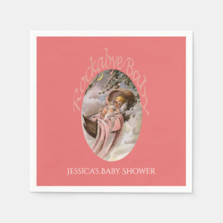 Coral Pink   Custom Girl Baby Shower Disposable Napkins
