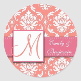 Coral Pink Damask Wedding Favour Sticker Pink