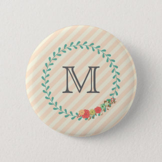 Coral pink decorative floral wreath monogram 2 inch round button