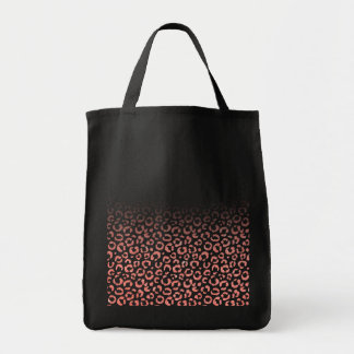 Coral Pink Faux Glitter Leopard Print Gradient Tote Bag