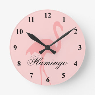 Coral pink flamingo bird wall clock
