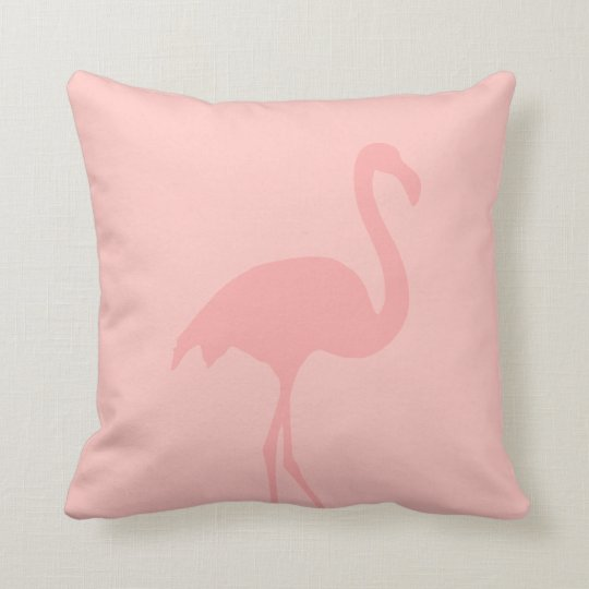 Coral pink flamingo throw pillow