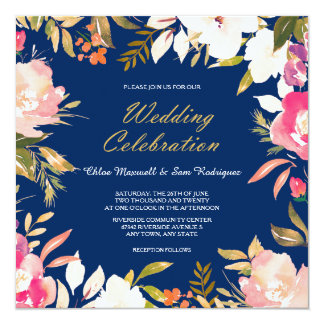 Coral Pink Floral Border on Navy Blue Wedding Card