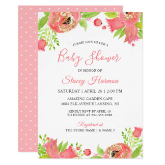 Coral Pink Floral Garden Watercolor Baby Shower Card