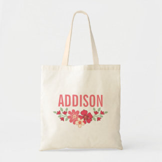 Coral Pink Floral Girls Name Canvas Tote Bag
