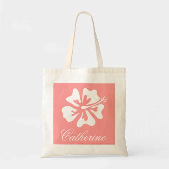 Coral pink flower tote bag with personalized name