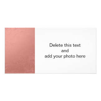 Coral Pink Foil Printed Photo Greeting Card