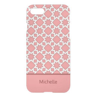 Coral Pink Fractal Quilt Pattern Personalized iPhone 8/7 Case