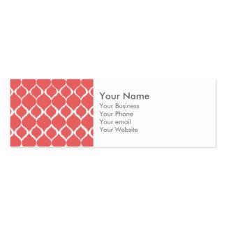 Coral Pink Geometric Ikat Tribal Print Pattern Business Card Templates