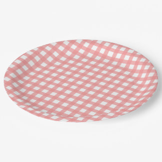 Coral Pink Gingham Paper Plates