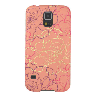 Coral pink girly floral rose flowers chic pattern cases for galaxy s5