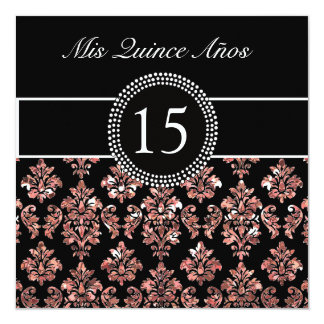 CORAL PINK GLITTER EFFECT BLACK DAMASK QUINCEANERA CARD