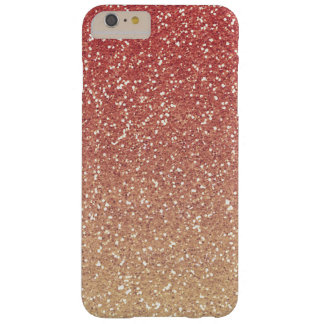 Coral Pink Gold Faux Glitter Barely There iPhone 6 Plus Case