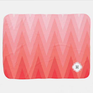 Coral Pink Gradient Ombre Chevron Pattern Monogram Baby Blanket