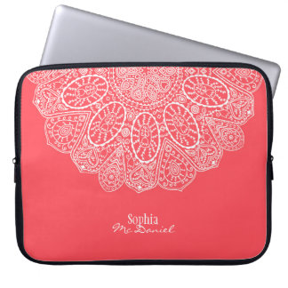 Coral Pink Hand Drawn Henna Circle Pattern Design Laptop Sleeve