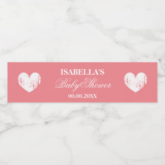 Coral pink heart personalized girls baby shower water bottle label