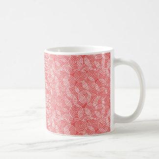 Coral Pink Ikat Overlap Circles Geometric Pattern Mugs