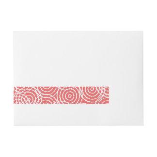 Coral Pink Ikat Overlap Circles Geometric Pattern Wraparound Address Label