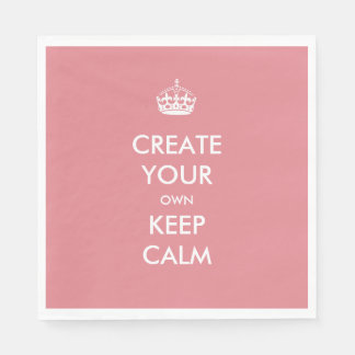 Coral Pink Keep Calm and Carry On Wedding Party Disposable Napkin