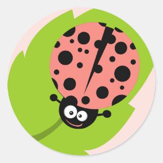 Coral Pink Ladybug Sticker