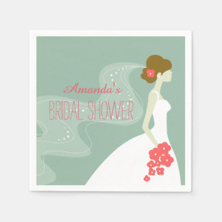 Coral Pink Mint Green | Bridal Shower Paper Napkin