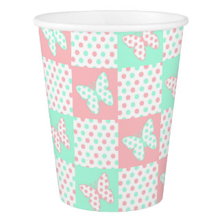 Coral Pink Mint Green Polka Dot Patchwork Quilt Paper Cup