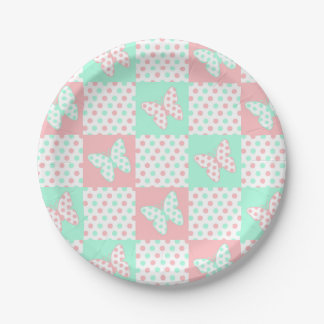 Coral Pink Mint Green Polka Dot Patchwork Quilt Paper Plate