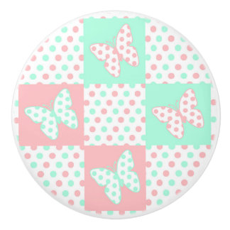Coral Pink Mint Green Polka Dot Quilt Block Girl Ceramic Knob