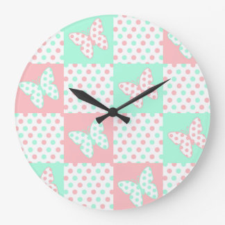 Coral Pink Mint Green Polka Dot Quilt Block Girl Large Clock