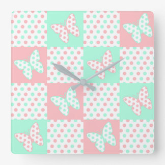 Coral Pink Mint Green Polka Dot Quilt Block Girl Square Wall Clock