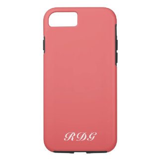 Coral Pink Modern Professional White Monogram iPhone 8/7 Case