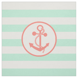 Coral Pink Nautical Anchor and Mint Green Stripes Fabric