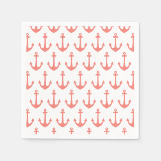 Coral Pink Nautical Anchor Pattern Paper Napkin