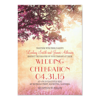 Coral pink oak tree & love birds wedding invites