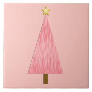 Coral Pink Ombre modern Christmas tree Ceramic Tile