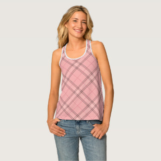Coral Pink Pastel Peach Tartan Plaid Check Pattern Tank Top