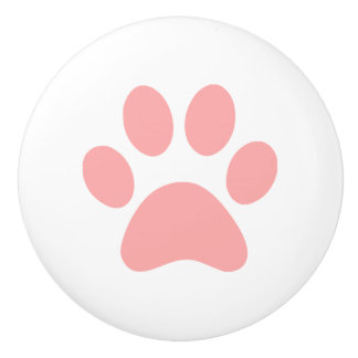 Coral Pink Paw Print puppy dog cat or other animal Ceramic Knob