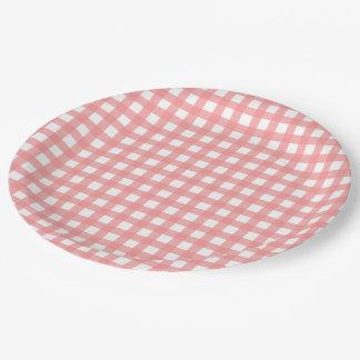 Coral Pink Plaid Paper Plates