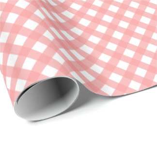 Coral Pink Plaid Print Glossy Wrapping Paper