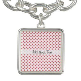 Coral Pink Polka Dots by Shirley Taylor Bracelet