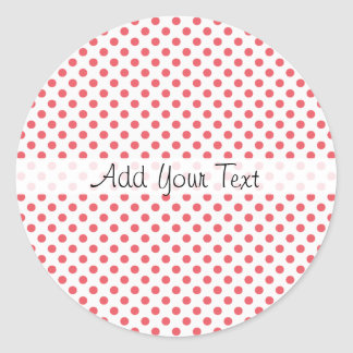 Coral Pink Polka Dots by Shirley Taylor Classic Round Sticker