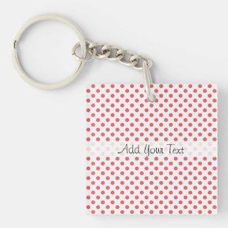 Coral Pink Polka Dots by Shirley Taylor Keychain