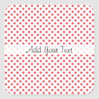Coral Pink Polka Dots by Shirley Taylor Square Sticker