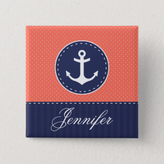 Coral Pink Polka Dots Dark Blue Anchor With Name 2 Inch Square Button