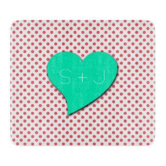 Coral Pink Polka Dots-Monogram Cutting Board