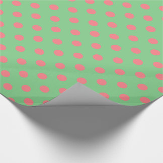 Coral Pink Polka Dots on Sea Green Wrapping Paper