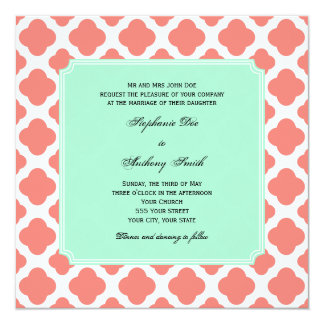 Coral Pink Quatrefoil and Mint Green Wedding Card