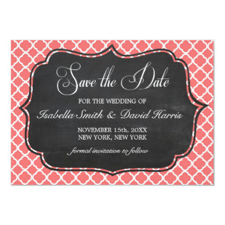Coral Pink Quatrefoil & Chalkboard Save the Date Card