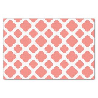 Coral Pink Quatrefoil Pattern Tissue Paper